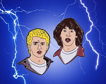 Totally Bill & Ted Head's Soft Enamel Pins
