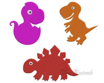 Dinosaur Embroidery Designs 6 size Instant Download