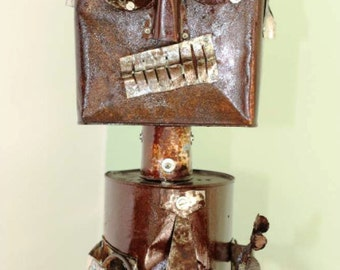 Head X - Robot character lamp made from recycled tin cans