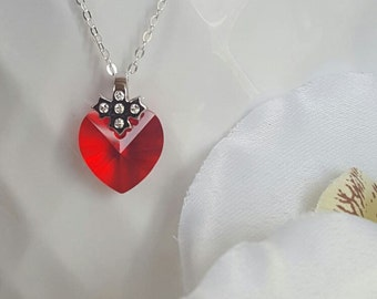 STRAWBERRY • Swarovski crystal heart necklace on sterling silver cable chain •