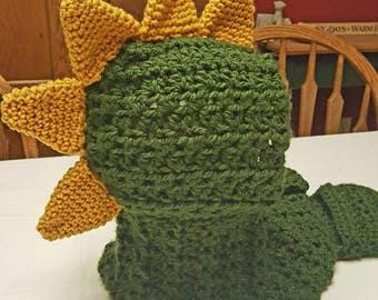 Dragon/Dinosaur Hooded Pocket Scarf, custom colors, Kids, teen or Adult Dragon/Dinosau Hooded Scarf Crochet
