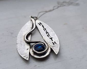 """Unique Sterling Silver and Blue Paua Shell Pendant """"Hiraeth"""" hand made by Welsh silversmith"""