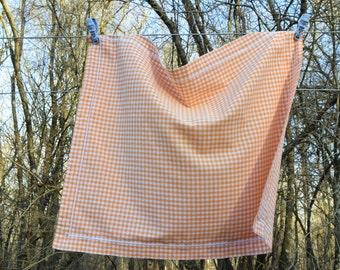 Vintage 70's / pillowcase / cotton / orange gingham