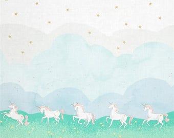 Unicorn Fabric, Michael Miller Fabric, Unicorn Parade, Metallic Fabric, Magic Sarah Jane 100% cotton woven with metallic