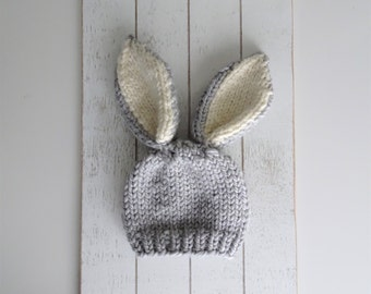 Knit Bunny Hat, Bunny Ears Hat, Cute Bunny Hat, Photo Prop