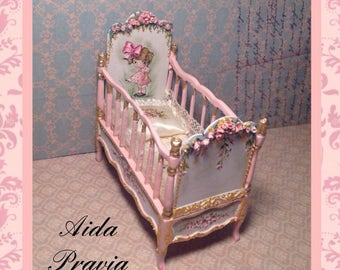 Pink crib 1:12. Hand painted furnitures