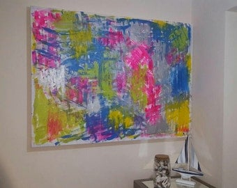 Original Abstract Painting, Ikat painting, acrylic   Painting, hand painted canvas, large abstract painting, 40x30inch