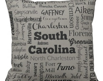 South Carolina cities pillow - SC typography throw pillow - teal or gray decorative pillow - So. Carolina gift - cushion