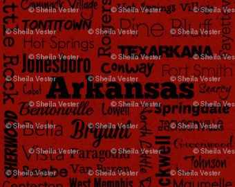 Arkansas Cities fabric - by the yard - red and black - gray and black