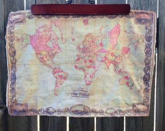 WORLD map blanket - baby minky security blankie - small travel blanky, lovie, lovey, woobie - 12 by 17 inches