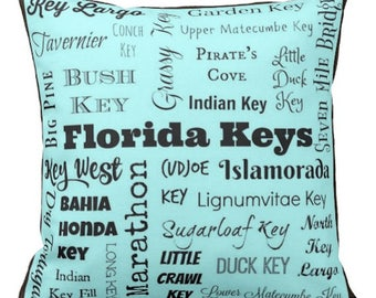 Florida Keys pillow - FL Keys typography throw pillow - turquoise, light aqua, light green, or peach decorative pillow - cushion - gift