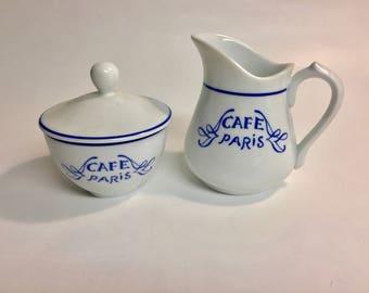 Bernardaud Limoges France Creamer and Sugar | Café Paris Blue Pattern | Vintage Creamer Sugar | French Porcelain | Sugar Bowl | Creamer