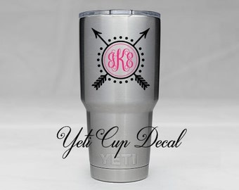 Yeti Cup Decal, Monogram Decal, Personalized Sticker,Name Decal, Preppy,Arrow Decal, RTIC Cup Sticker, Tumbler, Personalized Monogram Decal