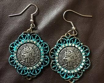 republique francaise 1808 coin earrings