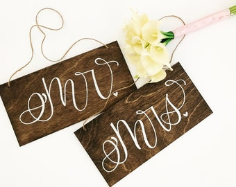 Wedding, Mr. & Mrs. Signs, Chair Signs, Pew Signs, Wedding Props, Rustic Wedding