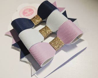 HANDMADE // Honeycomb Leatherette Bows // Mix & Match // Lilac, Navy, Pastel Grey Bows // Hair Bow Triple Set // Coordinating Clips // Girls