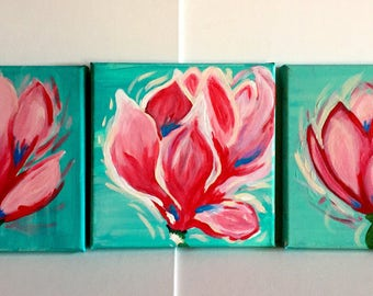 Spring Magnolias. Abstract Acrylic. Pink Flowers. Acrylic Canvas Art. Original Abstract Art. Hand painted. Wall Decor