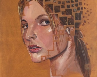 Abstract art, Woman's face, Acrylic painting on canvas, Giclee print - Breaking apart