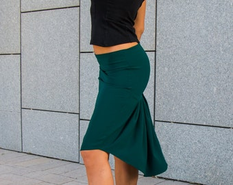 Green skirt, High low skirt, Pleated skirt, Tango skirt, Social dance, Feminine shape, Dance clothes skirt, Milonga skirt, dance wear
