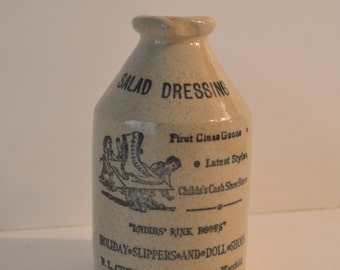 Vintage English Salad Dressing Stoneware Bottle. Transferware on pottery. c. 1950's