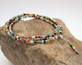 Multi-colored Seed Bead Versatile Adjustable Necklace, Bracelet, Anklet