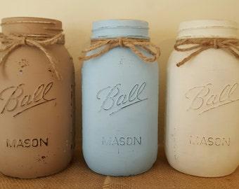 3 Painted Quart Mason Jars, Sky Blue, Ivory, & Sand, Beach Decor, Coastal Decor, Rustic Decor, Wedding Decor, Shabby Chic Decor, Cottage