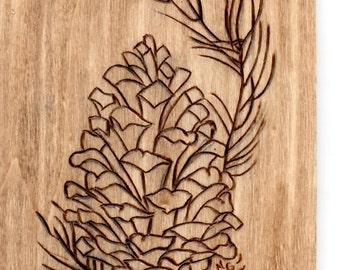 Pinecone Woodburning - 3.5x4.5in