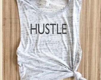 Hustle grey Muscle Tee, workout tank, gym shirt, yoga, funny shirt, workout shirt