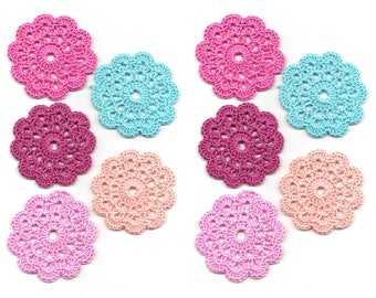 10 x Crochet Mini Doilies Handmade Crochet Embellishment Small Crochet Doilies Crochet Flowers Appliques - set of 10 Scrapbook Craft Doily
