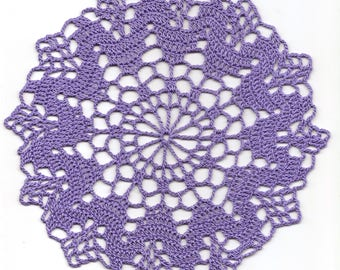 Crochet Doily Lace doilies Table Decoration Crocheted Doilies Centerpiece Hand Made Wedding Doily Napkin Boho Bohemian Decor Round Purple