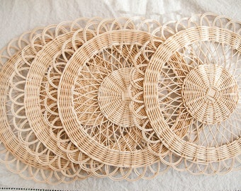 Vintage Four Wicker Placemats / Wall Decor