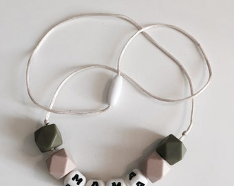 Mama teething necklace (black or grey or cream cord)