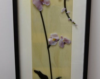 Framed Fused Glass Orchid Wall Art