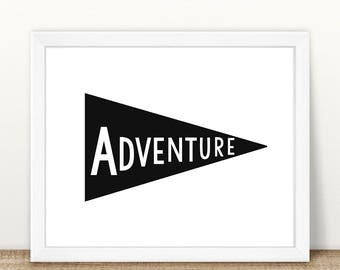 PRINTABLE Adventure Pennant Flag, Monochrome Print, Instant Download, Digital File, Adventure Print, Pennant Flag Print, Monochrome Print