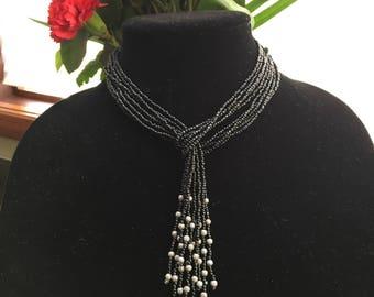 black beaded choker necklace, black tassel necklace, convertible necklace, black lariat, stardust bead necklace, black and grey necklace