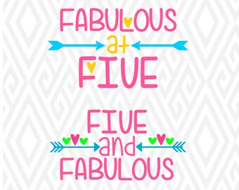 Five and Fabulous Cuttable Designs in SVG; DXF; PNG; Ai; Pdf; Eps