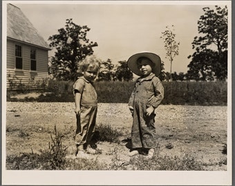 "old black and white photography ""Children at farm"" Indiana june 1938-vintage print fine art reproduction"