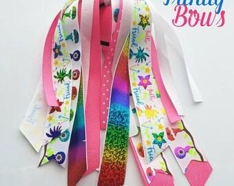 Hello My Friend - Ponytail Streamer - Pony-O - Glitter - Pink - White - Rainbow