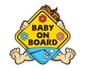2x Baby on Board Boy  Vinyl Car Sticker Decal