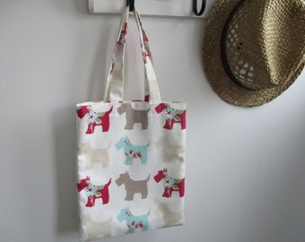"Medium hand sewn tote in cotton ""scottie"" fabric - ideal lunch, school, work bag.  Fully lined with inner pocket"
