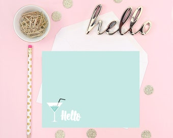 Hello Martini Digital Greeting Cards, Greeting cards, blue, stationary, prints,