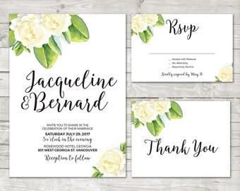 White Flower Wedding Invitation,  Green Wedding, Summer Flower Invite, White roses, Floral Wedding, Watercolor Flower, Garden Wedding 011
