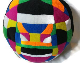 Round Rainbow Colored Mosaic Patchwork Pillow
