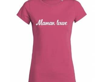 "T-shirt cotton woman bio ""Mama Wolf"", vegan tshirt"