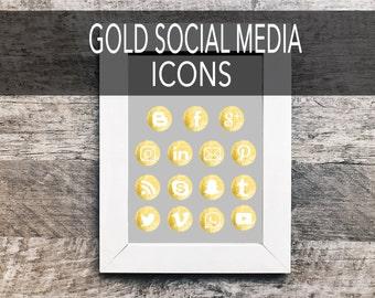 Gold Social Media Icons   Social Media Icons, Social Sharing Icons, Social Media Buttons, Social Vectors,  Blog Icons, Gold Foil