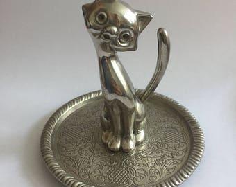 Vintage 1960s silver plated cat trinket holder