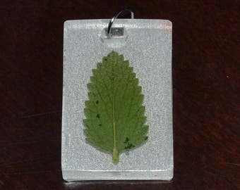 Leaf in Resin Pendant Necklace