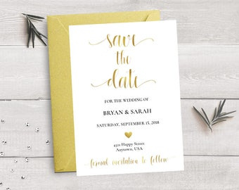 Gold Save the Date Template, Save Our Date Printable, Gold Save the Date Card Wedding Printable, Modern Calligraphy Save the Date DIY