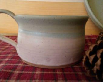 Icy turquoise and matte white soup mug, pottery soup mug, large coffee mug,  pottery soup bowl, pottery mug