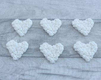 Rose heart cupcake toppers, fondant heart cake decorations, rose moulded sugar hearts, wedding cake decorations, anniversary cupcake toppers